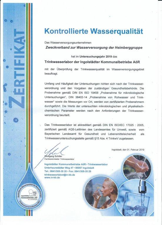 Grossansicht in neuem Fenster: Zertifikat Trinkwasser 2019